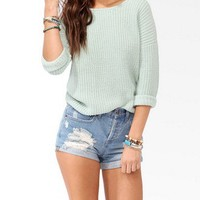 Metallic-Blend Dropped Shoulder Sweater