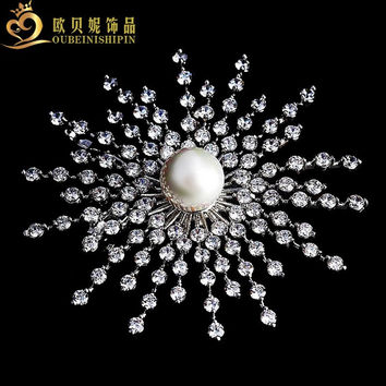 Bling White Shell Pearl Domed Cosmos Atomic CZ Brooch Pin Irregular Stone Modernist Explosion Comet Broaches
