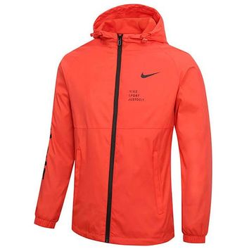 NIKE 2018 new men running outdoor sports breathable zipper cardigan jacket Orange