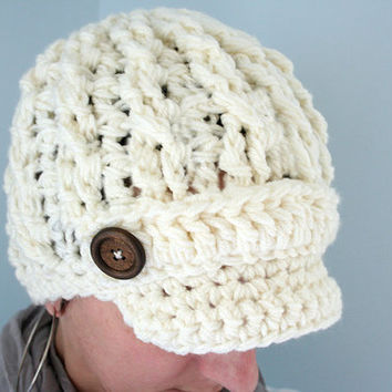Crochet Newsboy hat for Women, Womens crochet cap, Womens knit hat, soft cable knit hat for adults,