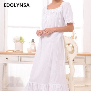 DCCKL3Z New Arrival Vintage Nightgowns Sleepshirts Elegant Lady Dresses Princess Sleepwear Print Home Dress Lace Sleep & Lounge #H119