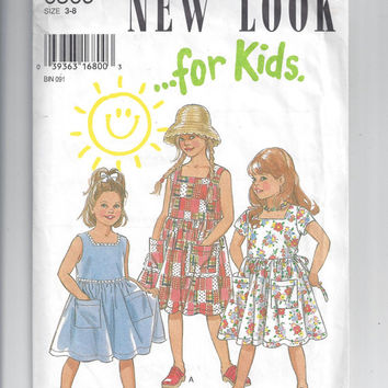 New Look for Kids 6369 Pattern for Girls' Sun Dress, Sizes 3-8, from 1995