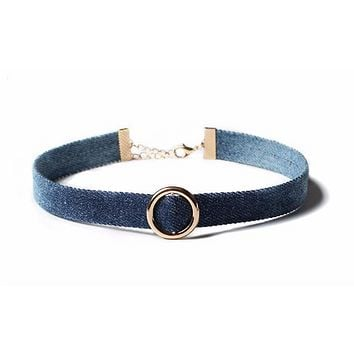 Denim Choker Necklace with Alloy Pendant