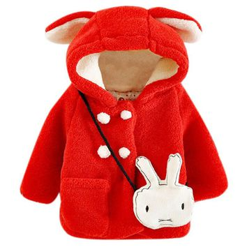 Baby Girls Winter Warm Soft Kids Hoodie Cartoon Clothing Rabbit Ear Hooded Long Sleeve Outwear Cotton clothes