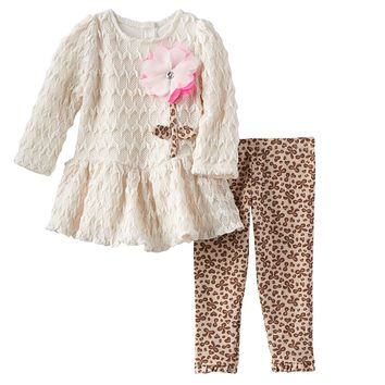 Nannette Chevron Lace Dress & Leopard Leggings Set - Toddler Girl, Size: