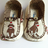 Boy's Little Loafers in Moda Sock Monkey
