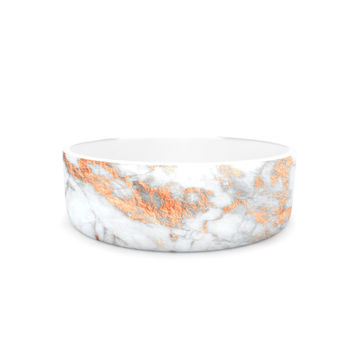 "KESS Original ""Rose Gold Flake"" White Pink Pet Bowl"