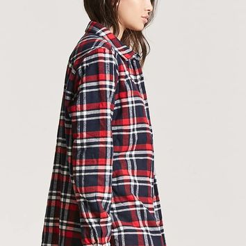 Faux Shearling-Lined Fleece Plaid Jacket