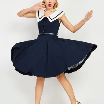 Chicloth Dark Blue Sailor Collar Lace Hem A-Line Vintage Dress
