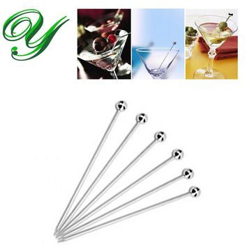 30pc Stainless steel Martini picks appetizers skewers 4inch metal cocktail drink muddler party bar supplies barbecue grill tools