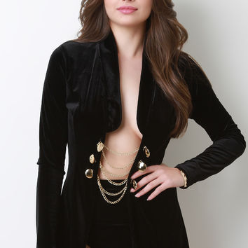 Smooth Velvet Chain Embellishments Blazer in Black