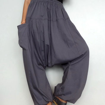 Gray Drop crotch long trouser,Unisex harem pants unique cotton blend (Drop pants-15).