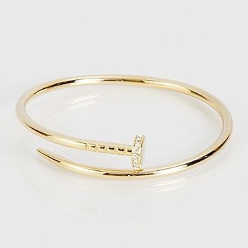 MARAT Brands® Designer Inspired Gold Nail Bangle Bracelet with stone