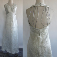 CUT OUT Cage vtg 70's maxi dress Open back hippie Silver Metallic Thread