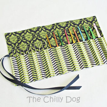Roll-Up Crochet Hook Case - Lime Green and Navy Chevron