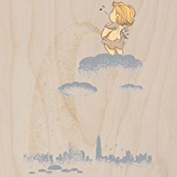 'Rainy Day' Funny Baby Angel Pee on City - Plywood Wood Print Poster Wall Art