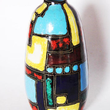 Rare Vintage German Polychrome Geometric Vase Red Yellow Blue Green - Lu Klopfer  50s