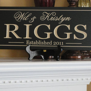 Engraved Family name sign Custom Wooden signs by michaelswoodworks