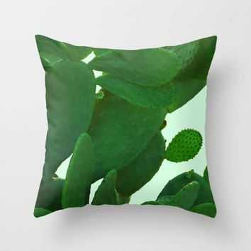 Cactus On Cyan Background Throw Pillow by ARTbyJWP