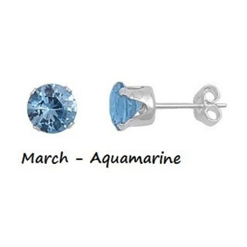 .925 Sterling Silver Brilliant Round Cut Blue Aquamarine CZ Stud Earrings in 2mm-10mm