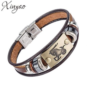 XINYAO Scorpio Virgo Libra Aries Zodiac Taurus 12 Constellation Bracelets Men Women Geniune Braided Leather Bracelet Men Jewelry