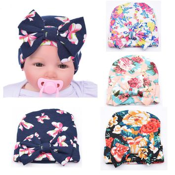 4 PCS/Lot Flower Bonnet Hat Cap with Big Bow For Baby Girl Infant Newborn Hair Accessories