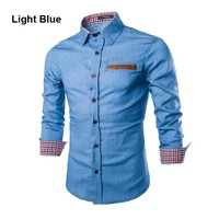Leather Pocket Men Casual Jeans Shirt