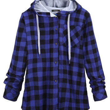 Casual Women Loose Plaid Long Sleeve Hooded Jacket