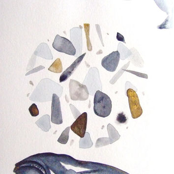 Whale Original Watercolor Painting Ink Fish Painting Animal Nature Water Pebble Stones Contemporary Art Drawing Grey Landscape Fish Decor