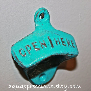 Turquoise Bottle Opener /Cast Iron /Vintage, Retro Feel /Kitchen, Man-cave, Game Room, Patio, Hangout /Metal Wall Decor