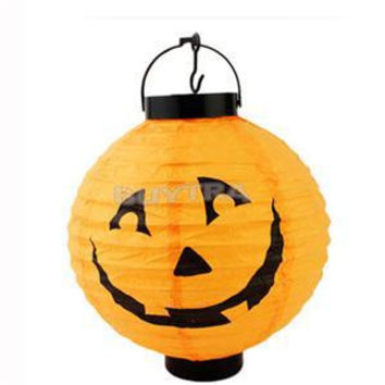 2015 Pumpkin Light Halloween Decoration New Convenient Hanging Paper Lantern Lamp Outdoor Party Supplies