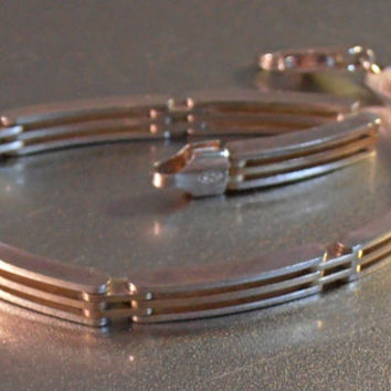 Sterling Gate Link Bracelet, Italian Book Chain, Stacking
