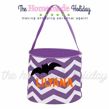 Personalized Black Bat Trick or Treat Halloween Bags