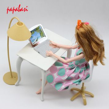 Mix color doll play house doll furniture desk+lamp+laptop+chair accessories for Barbie Doll