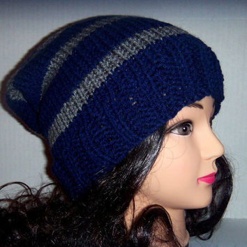 Slouchy Beanie Mens Hat in Navy Blue and Grey Gray, Mens Accessories
