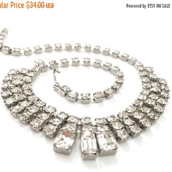 Clear Rhinestone Collar Necklace, Chaton and Baguette Ice Crystals, Silver Tone, Wedding Jewelry, Special Occasion, Prom Jewelry