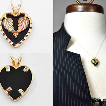 Vintage Black Hills Gold 10K Gold & Onyx Heart Pendant Necklace, Tri-Color Gold, Leaves, Grapes, Signed, Mt. Rushmore Gold #c387