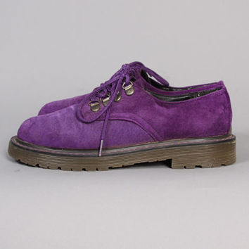 Vintage 80s PURPLE Suede OXFORDS / Chunky lace Up Shoes, 6