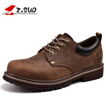 Z. Suo Brand ZS18507 New Fashion Crazy Horse Cow Leather Low-Top Men's Tooling Shoes High Quality European Style Martin Shoes