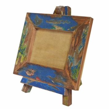 Artistic Canvas like Wood Photo Frame With Easel Stand, Multicolor