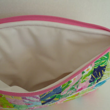 Quilted Waterproof Lilly Pulitzer Purse Tote Wet Dry Cosmetic Bag #9
