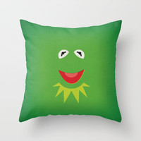The Muppets Show Vintage Art Kermit the Frog Retro Style Minimalist Poster Print Throw Pillow by The Retro Inc