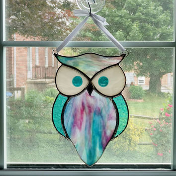 Stained Glass Owl Suncatcher - Blue and Pink Swirl - Stained Glass Bird - Horned Owl - Garden Art - Owl Ornament - Housewarming Gift