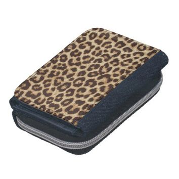 Leopard Print Denim Wallet with Coin Purse