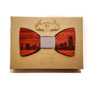The Regal Wooden Bow Tie - Cincinnati Skyline