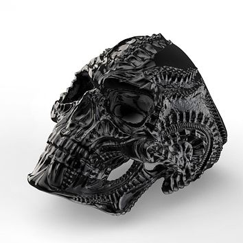 eejart 316L Stainless Steel Alien Skull Ring for Men