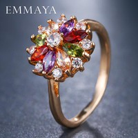 EMMAYA Multi Color CZ Crystal Flower Rings for Women Girls Fashion Cheap Ring Wedding Lady Jewelry