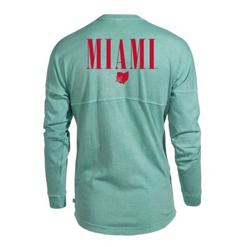 Official NCAA Miami University RedHawks Miami of Ohio Swoop Women's Long Sleeve Spirit Wear Jersey T-Shirt