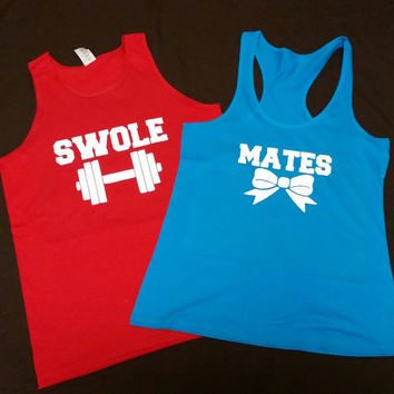 Couples Swole Mates Work Out Tank Tops, Couples Fitness Beauty and Beast Tank Tops, Couples Gym Shirts