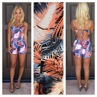 Hawaiian Sunset Open Back Romper